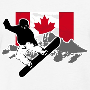 Snowboarding - Canada Flag T-Shirts - Fitted Cotton/Poly T-Shirt by Next Level