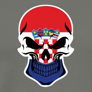 Croatian Flag Skull - Men's Premium T-Shirt