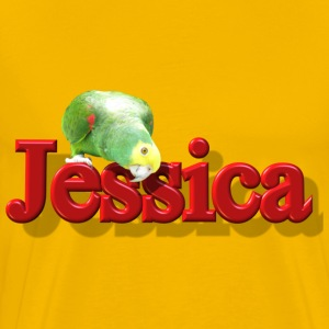 Jessica With a Parrot - Men's Premium T-Shirt