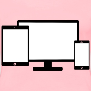 Mobile displays against a computer screen - Women's Premium T-Shirt