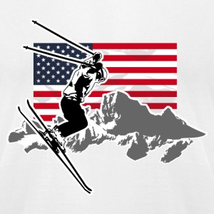 Alpine Ski - USA Flag T-Shirts - Men's T-Shirt by American Apparel