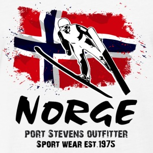 Ski Jumping - Norway Flag T-Shirts - Fitted Cotton/Poly T-Shirt by Next Level