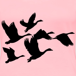 Gaggle Of Geese Silhouette - Women's Premium T-Shirt
