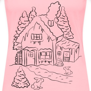 Winter House Scene Line Art - Women's Premium T-Shirt