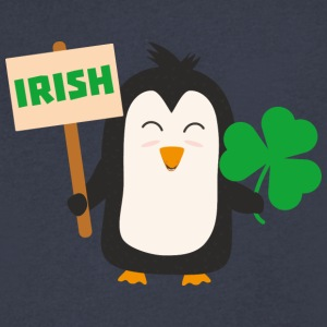 Irish Penguin with shamrock Ujib4 T-Shirts - Men's V-Neck T-Shirt by Canvas