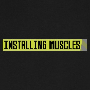 Installing muscles workout Uh1sq T-Shirts - Men's V-Neck T-Shirt by Canvas