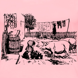 Girl and Pigs - Women's Premium T-Shirt