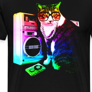 Rainbow Boombox Cat - Men's Premium T-Shirt