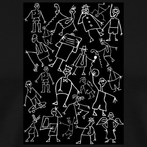 white scribbled figures on black - Men's Premium T-Shirt