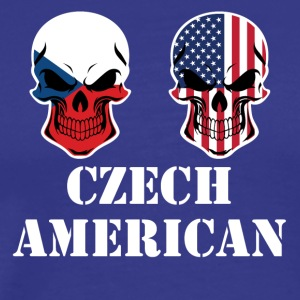 Czech American Flag Skulls - Men's Premium T-Shirt