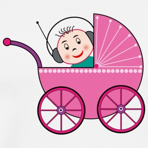 baby with headset in a baby buggy - Men's Premium T-Shirt