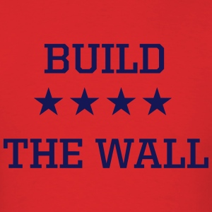 Build the Wall Men's Red Tee with Blue Print - Men's T-Shirt