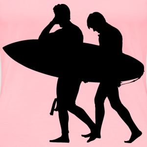 Two Surfers Silhouette - Women's Premium T-Shirt