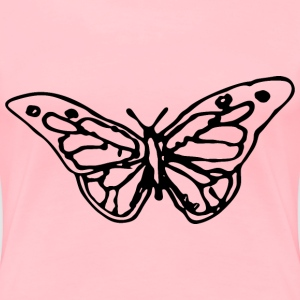 Hand Drawn Butterfly Silhouette - Women's Premium T-Shirt