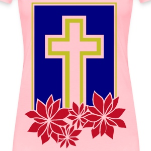 Cross with Flowers - Women's Premium T-Shirt