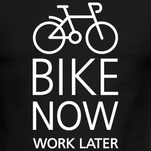 Bike now work later T-Shirts - Men's Ringer T-Shirt