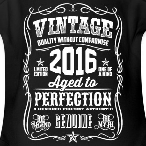 2016 Aged to Perfection White print - Short Sleeve Baby Bodysuit
