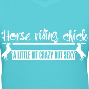 Horse riding Chick  crazy but cool T-Shirts - Women's V-Neck T-Shirt