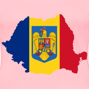 Romania Map Flag With Coat Of Arms - Women's Premium T-Shirt