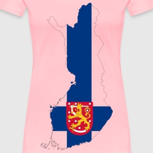 Finland Map Flag With Stroke And Coat Of Arms - Women's Premium T-Shirt