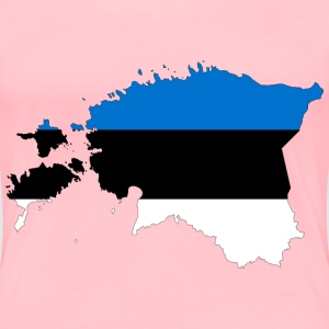 Estonia Map Flag With Stroke - Women's Premium T-Shirt