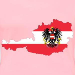 Austria Map Flag With Stroke And Coat Of Arms - Women's Premium T-Shirt