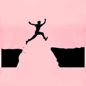 Man Jumping Cliff - Women's Premium T-Shirt