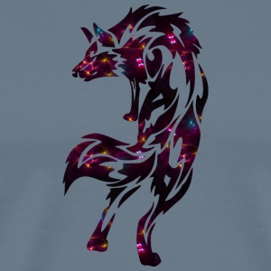 Wolf with colored lights. Gangster, hip hop. - Men's Premium T-Shirt