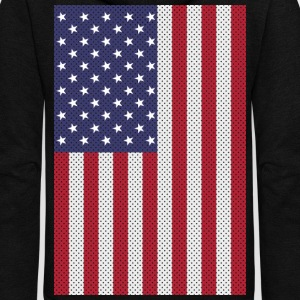 Original cross-stitch american flag Hoodies - Unisex Fleece Zip Hoodie by American Apparel