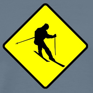 Skier Crossing Sign - Men's Premium T-Shirt