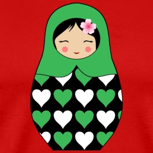 Green Matryoshka doll with hearts - Men's Premium T-Shirt