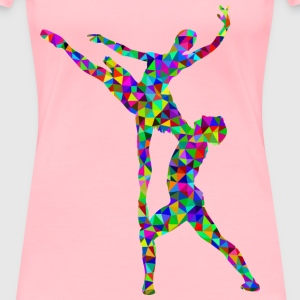Prismatic Low Poly Woman And Man Ballet Silhouette - Women's Premium T-Shirt