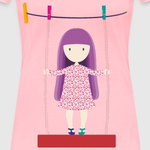 Girl Swinging On Clothesline - Women's Premium T-Shirt