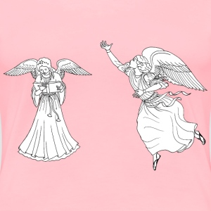 Two Female Angels Line Art - Women's Premium T-Shirt