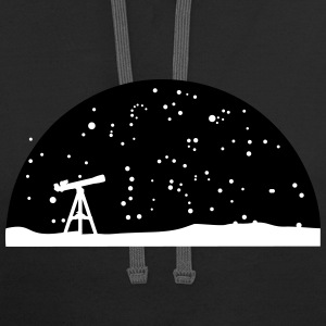 Astronomy, Telescope and starry night sky Hoodies - Contrast Hoodie
