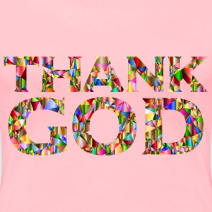 Chromatic Low Poly Thank GOD Typography - Women's Premium T-Shirt