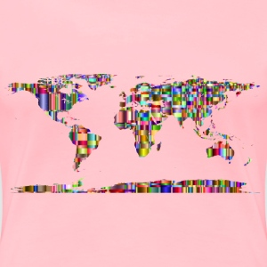 Checkered Chromatic World Map - Women's Premium T-Shirt