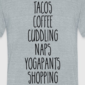 Tacos & Coffee Funny Quote T-Shirts - Unisex Tri-Blend T-Shirt by American Apparel