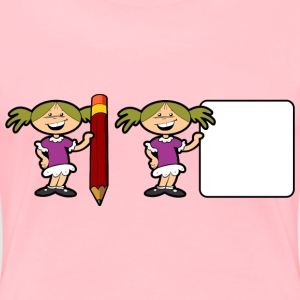 Girl With Pencil And Sign - Women's Premium T-Shirt
