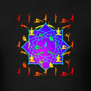 Lotus Flower With Yoga Positions - Men's T-Shirt