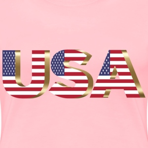 USA Flag Typography Copper No Background - Women's Premium T-Shirt