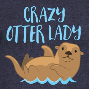 crazy otter lady Long Sleeve Shirts - Women's Wideneck Sweatshirt
