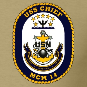 USS Chief MCM-14 Crest Shirt - Men's T-Shirt