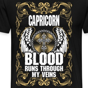 Capricorn Blood Runs Through My Veins T-Shirts - Men's Premium T-Shirt