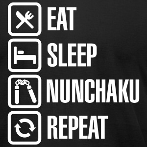 Eat Sleep Nunchaku Repeat T-Shirts - Men's T-Shirt by American Apparel