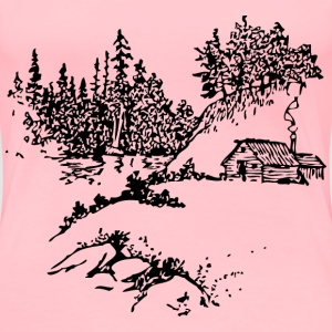 cabin along stream - Women's Premium T-Shirt