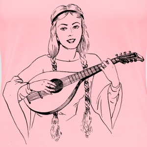 Woman playing lute - Women's Premium T-Shirt