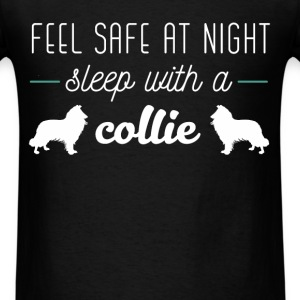 Collie - Feel safe at night sleep with a Collie - Men's T-Shirt
