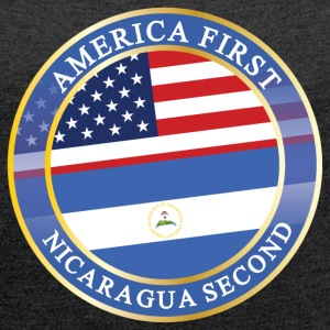 AMERICA FIRST NICARAGUA SECOND T-Shirts - Women´s Rolled Sleeve Boxy T-Shirt