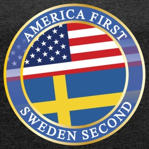AMERICA FIRST SWEDEN SECOND T-Shirts - Women´s Rolled Sleeve Boxy T-Shirt